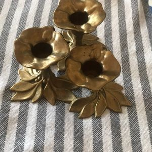 Lotus flower brass three candle holder